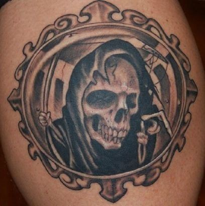 Portrait of death in frame tattoo