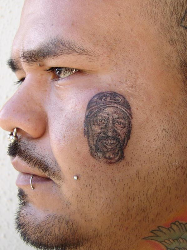 Portrait small face tattoo for men&quots