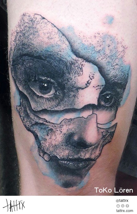 Portrait style colored arm tattoo of corrupted woman face