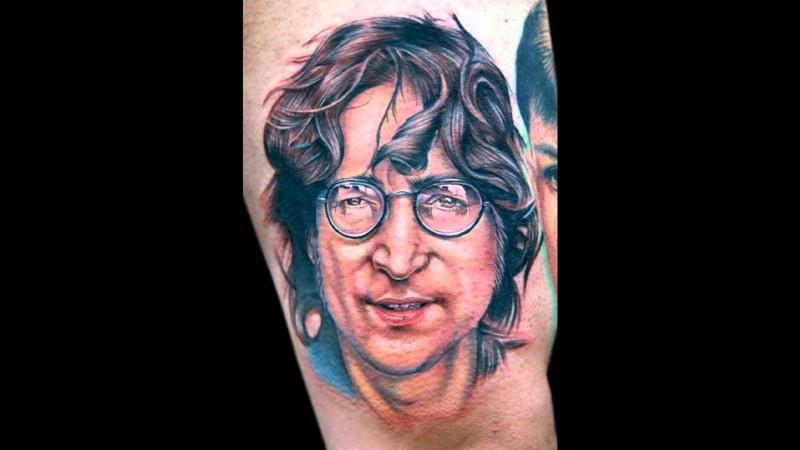 Portrait style colored Aron Lennon face tattoo