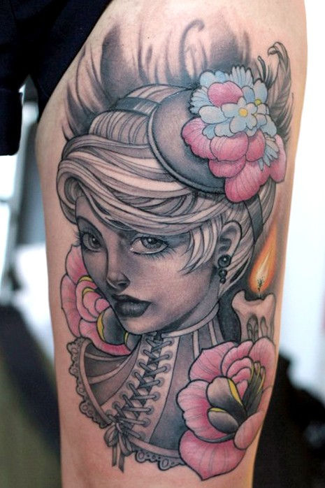 Portrait style colored beautiful woman tattoo on thigh stylized with candle and flowers