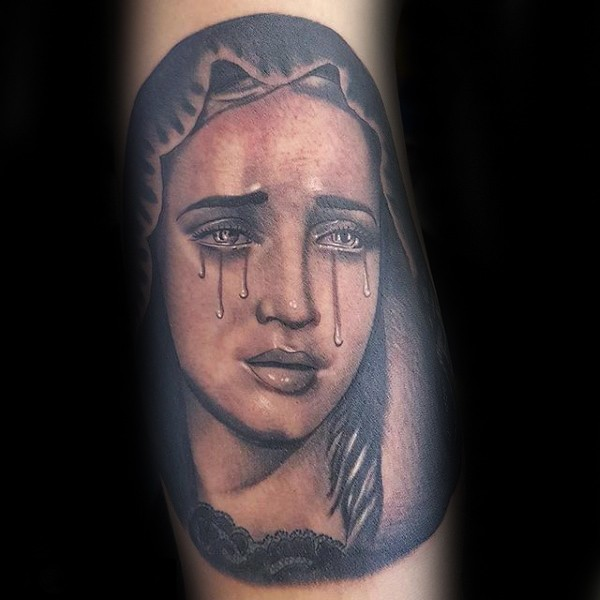 Portrait style colored crying woman tattoo