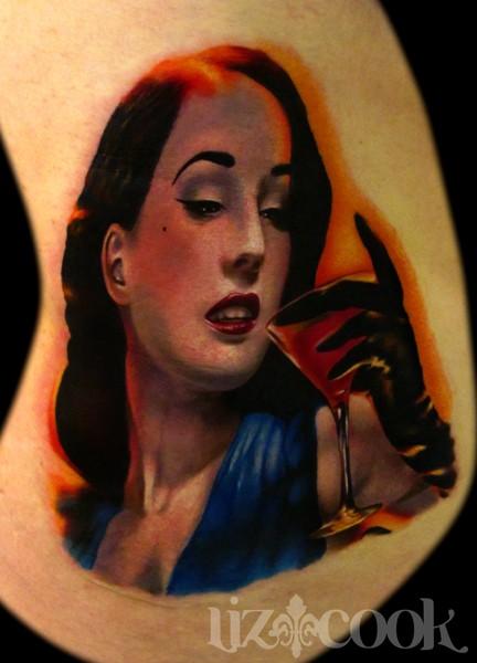 Portrait style colored Dita Von Teese face
