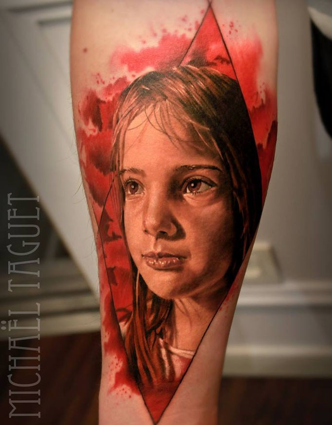 Portrait style colored forearm tattoo of girl portrait