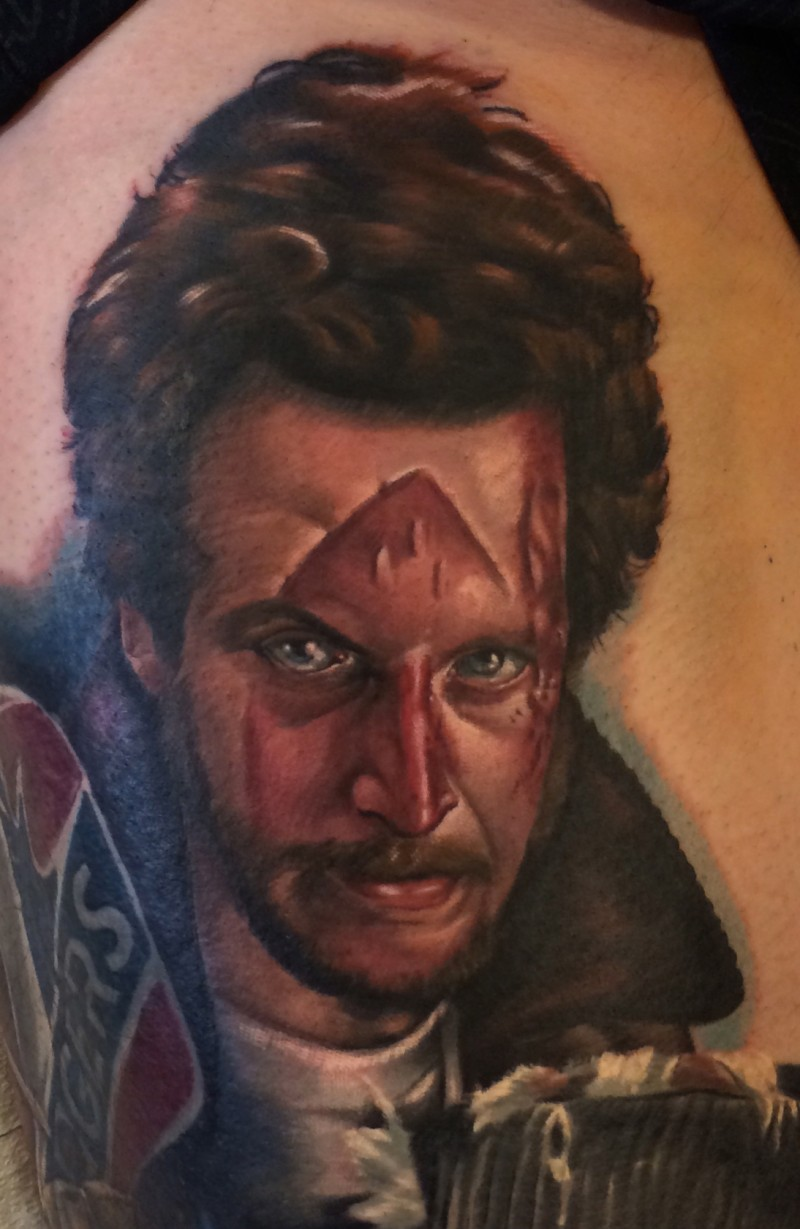 Portrait style colored Home alone movie hero portrait tattoo