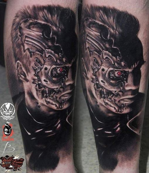 Portrait style colored leg tattoo of Terminator face ...