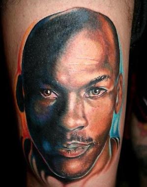 Portrait style colored Michael Jordan portrait