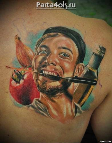 Portrait style colored scapular tattoo of man with knife and tomatoes