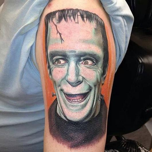 Portrait style colored shoulder tattoo of Frankenstein monster