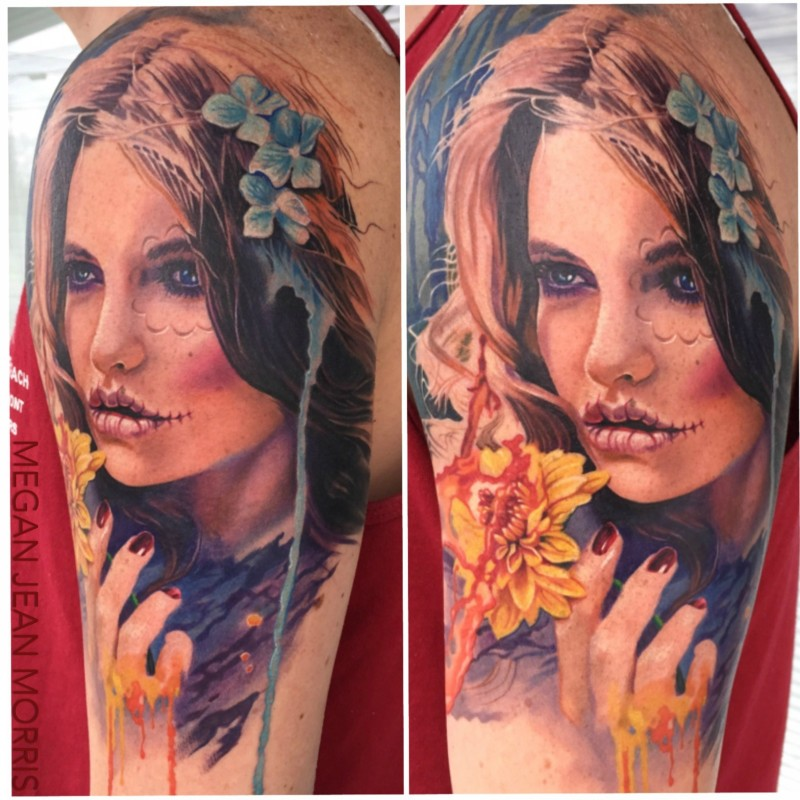 Portrait style colored shoulder tattoo of mystical woman with flowers