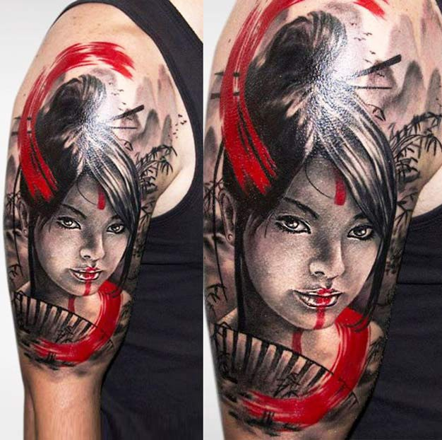 Portrait style colored shoulder tattoo of geisha with fan