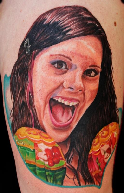 Portrait style colored smiling woman face tattoo with lollypops