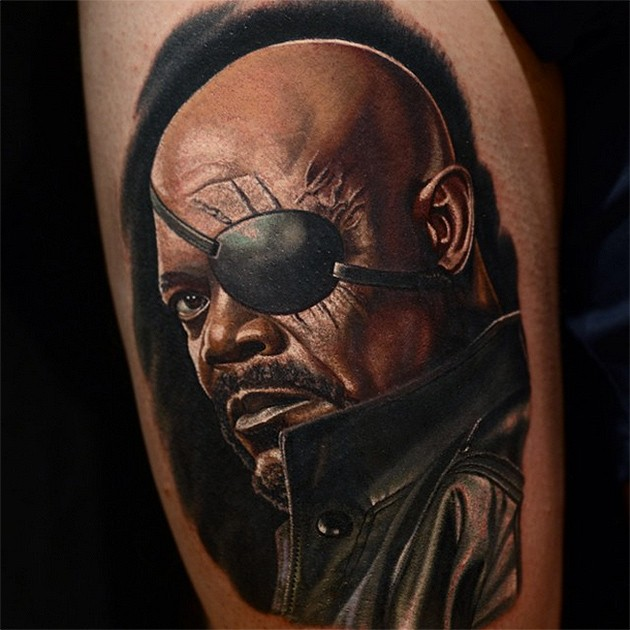 Portrait style colored tattoo of Nick Fury face