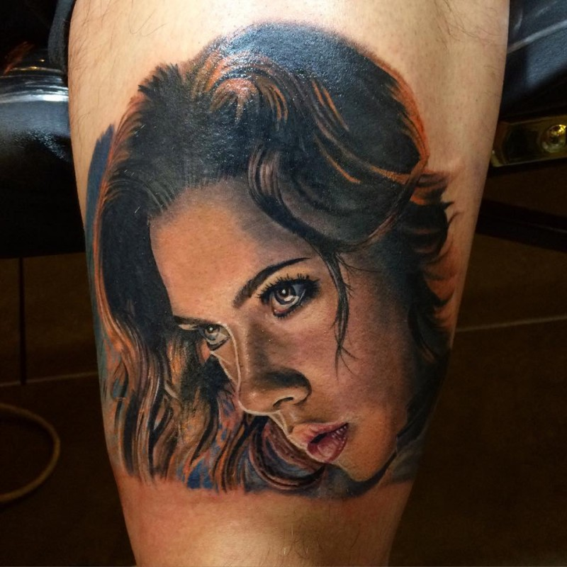 Portrait style colored tattoo of Scarlet Johansson