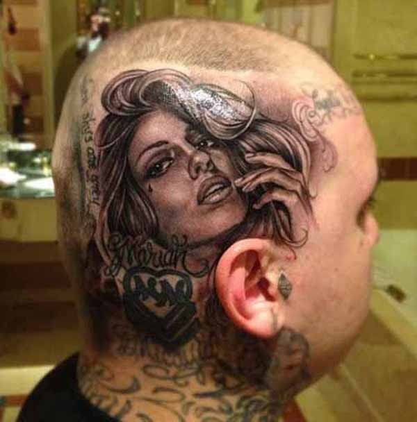 Portrait style detailed head tattoo of seductive woman face