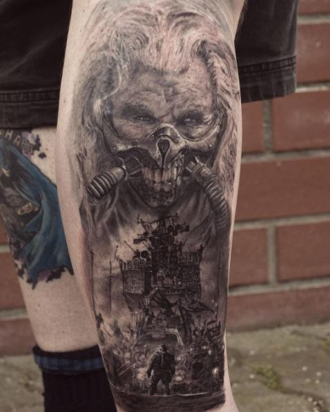 Portrait style detailed leg tattoo of Mad Max creepy boss with cars
