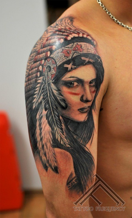Portrait style very detailed shoulder tattoo of Indian woman portrait