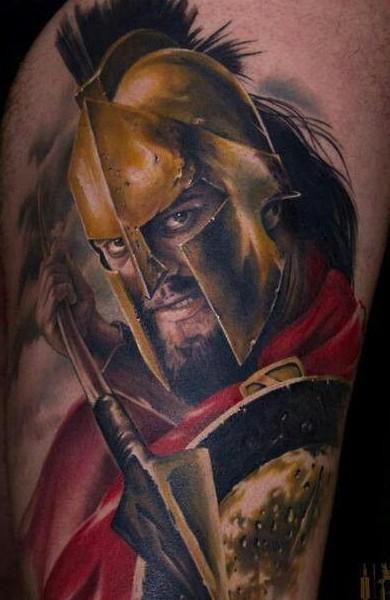 Portrait style very detailed thigh tattoo of Spartan warrior