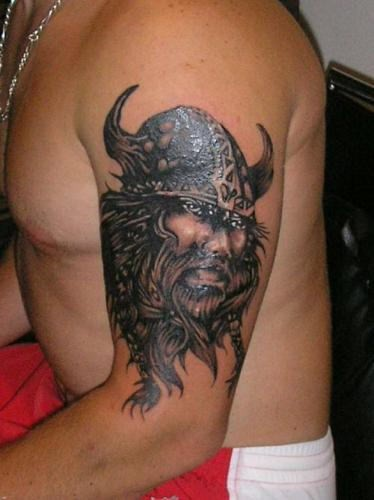 Portrait viking tattoo on half sleeve