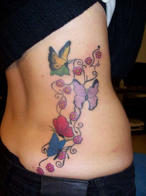 Pretty butterfly tattoos for women on ribs