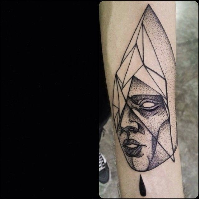 Psychedelic blackwork style painted by Michele Zingales arm tattoo of stone human statue