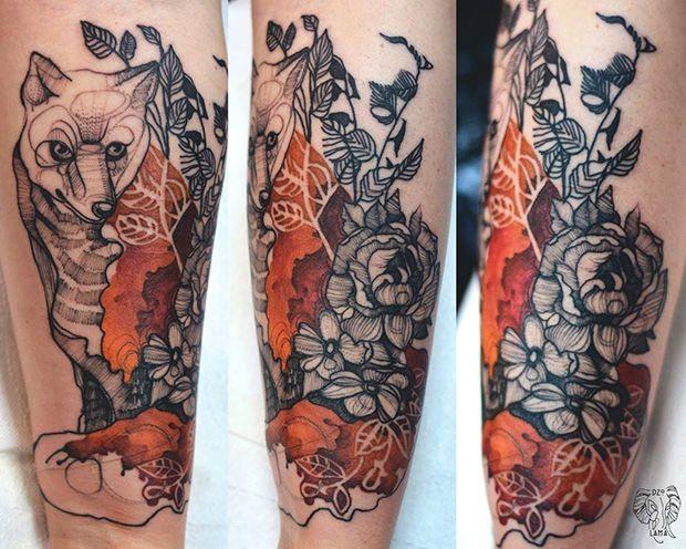 Psychedelic fantasy of Joanna Swirska tattoo of fox with flowers