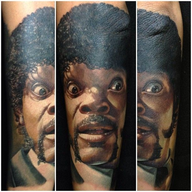 Pulp fiction hero Samuel L Jackson colored lifelike super realistic portrait tattoo in realism style