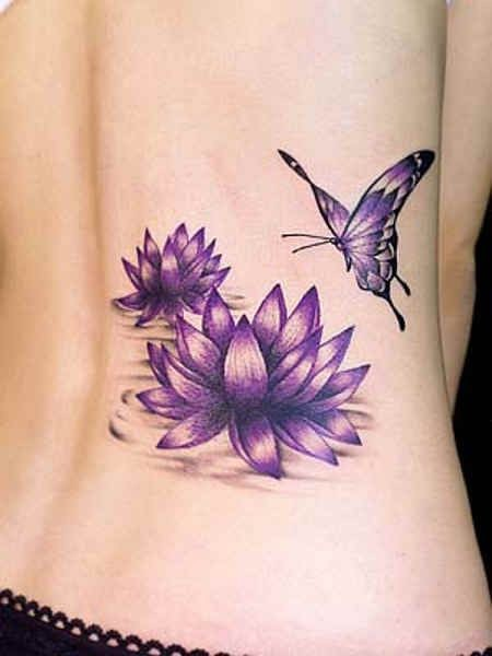 Purple flowers and butterfly tattoo on ribs