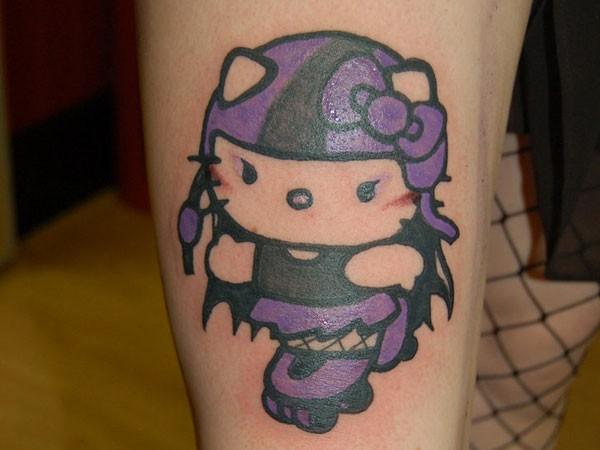 Purple hello kitty roller tattoo