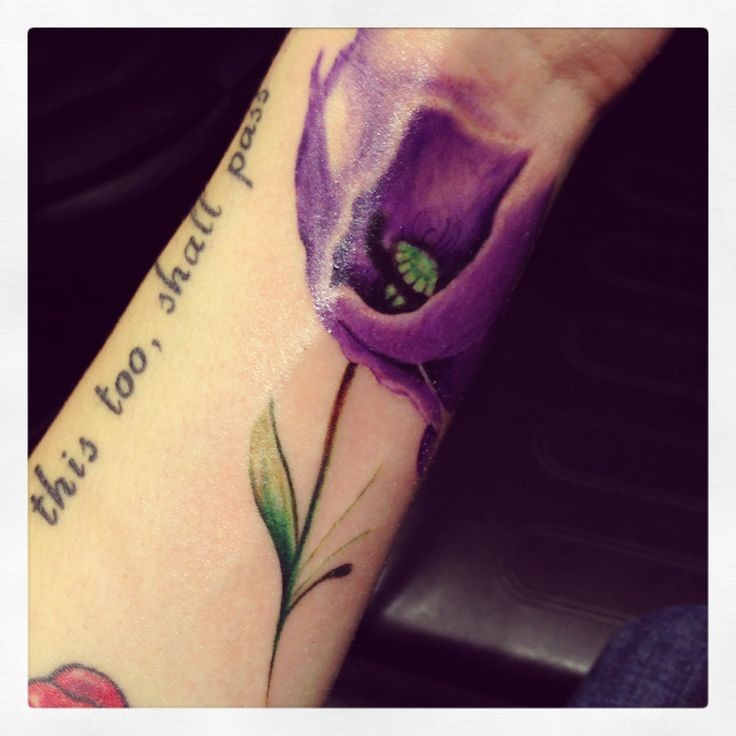 Purple poppy flower tattoo on wrist