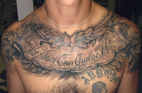 Male Chest Tattoo Gallery: Quote And Patterns Tattoo On Chest For Men