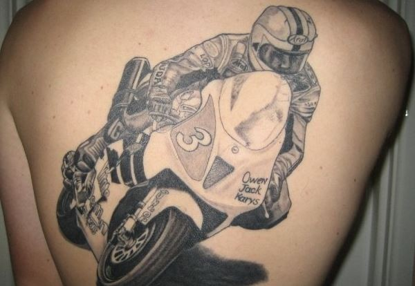 Racer in sports bike tattoo