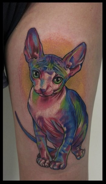 Rainbow colored Sphynx  cat detailed thigh tattoo
