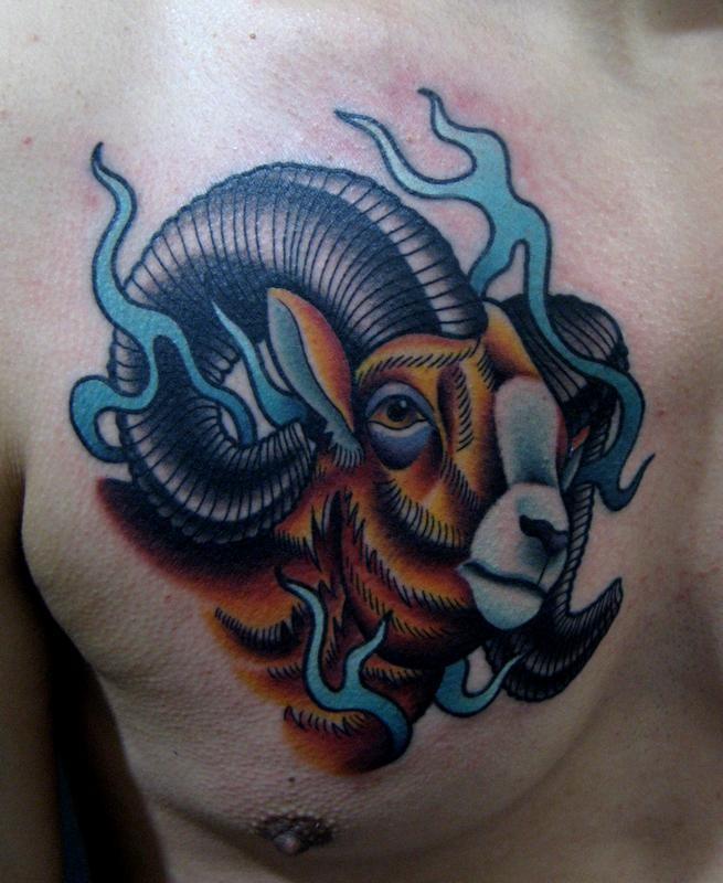 Verschiedenfarbiges Tattoo mit Rammgesicht