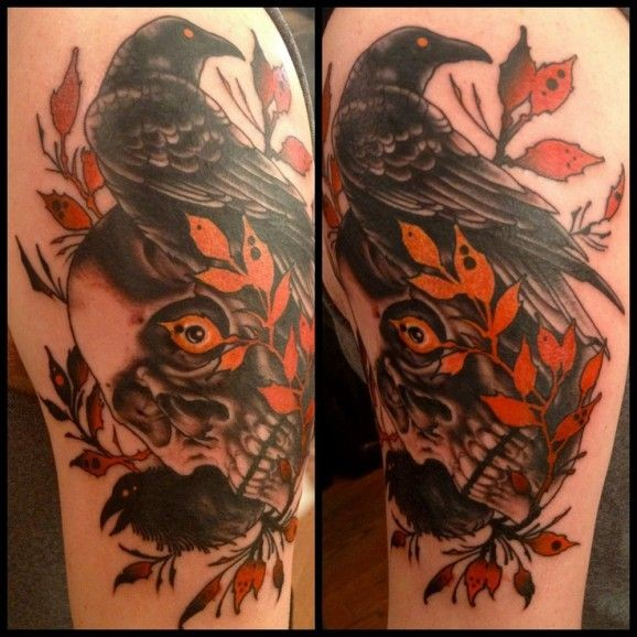 Ravens and a skull tattoo by Richard Smith