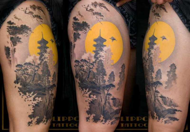 Real antic painting like colored Asian forest and night house tattoo on thigh area