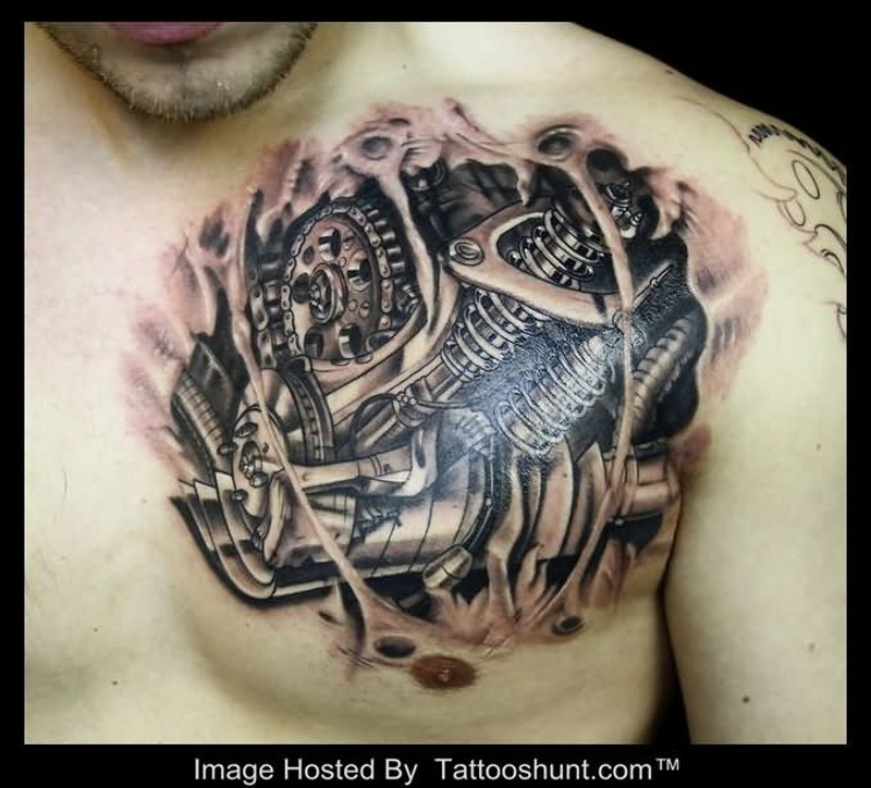 Small Engine Tattoo: Real Car Engine Like Black And White Chest Tattoo