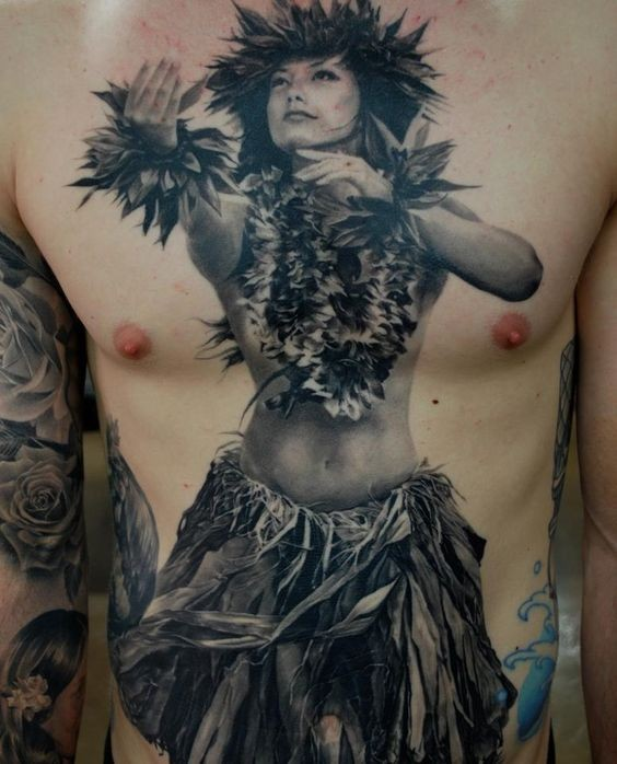 Real life like black and white dancing tribal woman tattoo on whole chest and belly