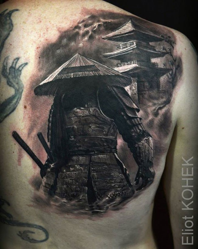 real life like creative painted colored half back tattoo of samurai warrior near large house. Black Bedroom Furniture Sets. Home Design Ideas
