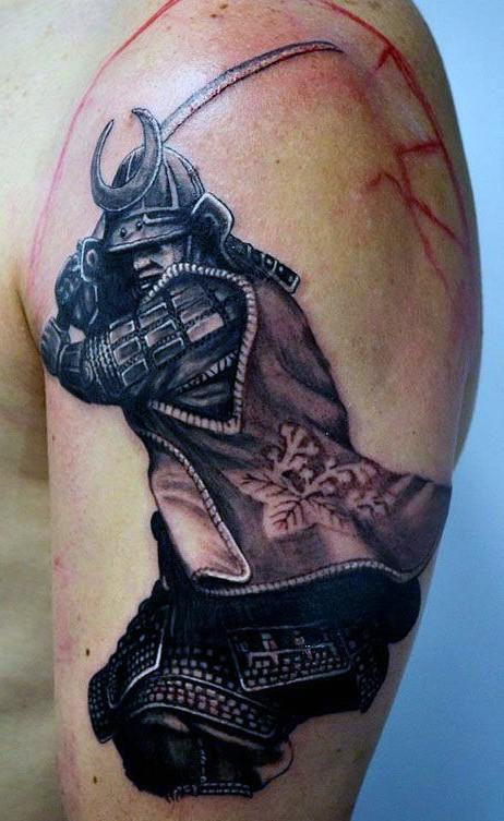 Real lifelike colored shoulder tattoo of big samurai warrior with sword