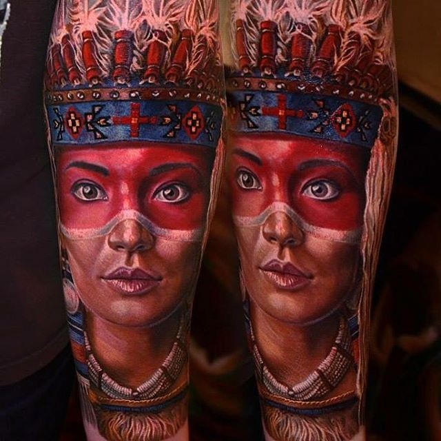 Real lifelike portrait style forearm tattoo of Indian woman