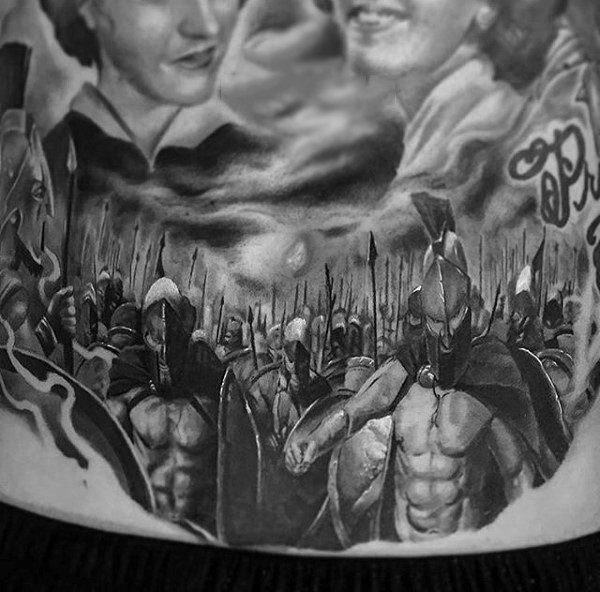 Real movie like black and white 300 Spartans tattoo on waist