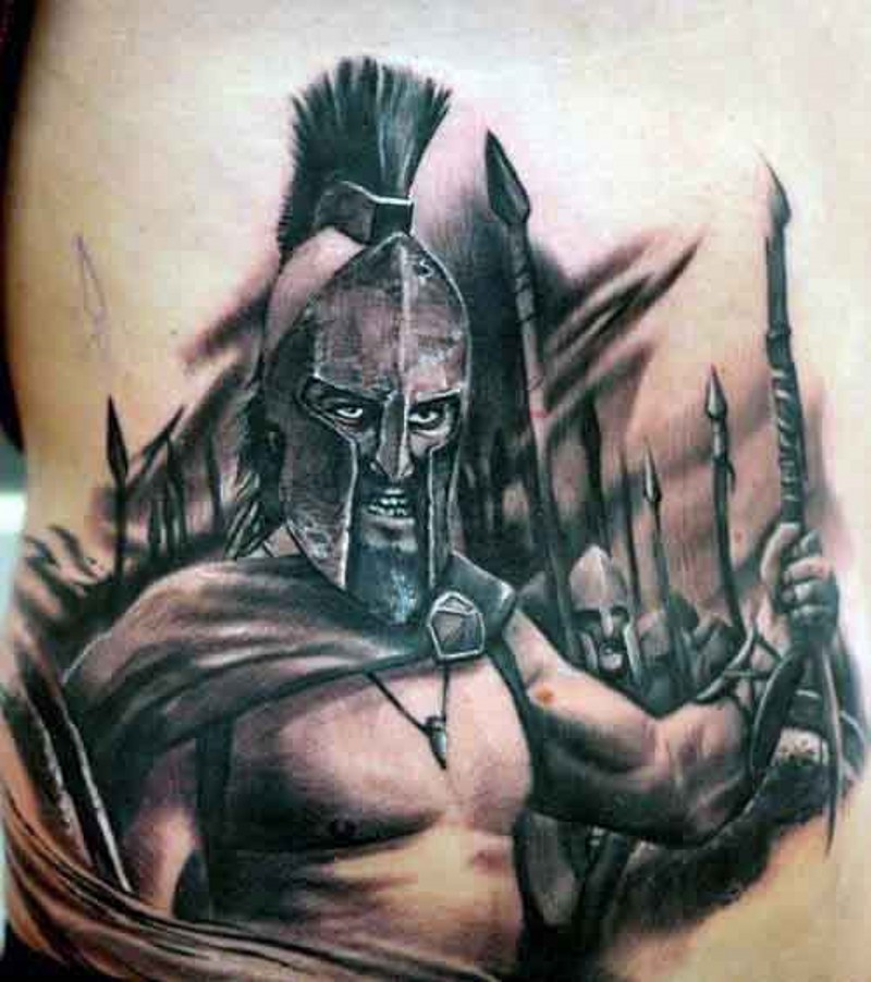 Real movie scene style detailed 300 Spartans tattoo