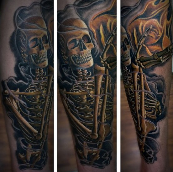 Real photo like 3D colored skeleton with flower tattoo on leg