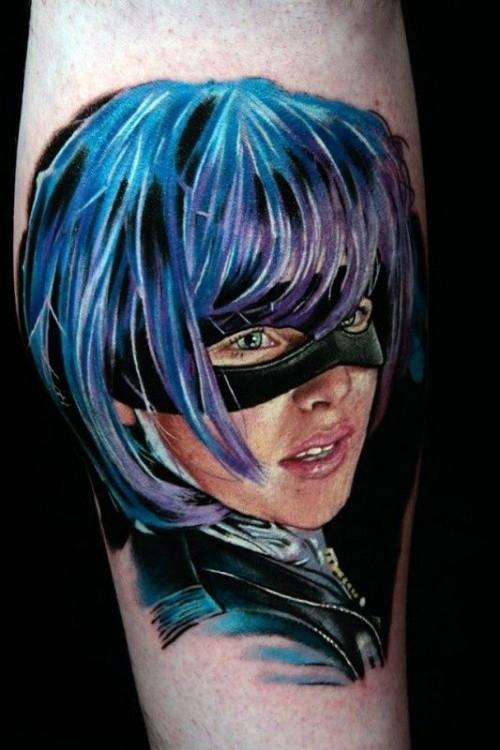Real photo like big colored forearm tattoo of female superhero in mask