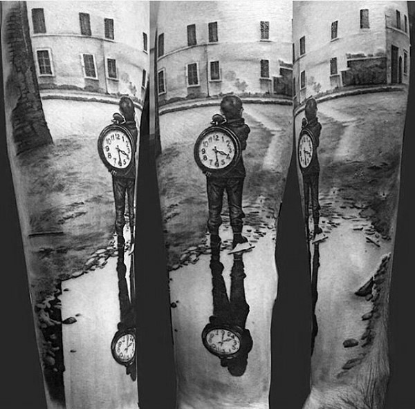 Real photo like black and white lonely boy with clock in city tattoo on sleeve