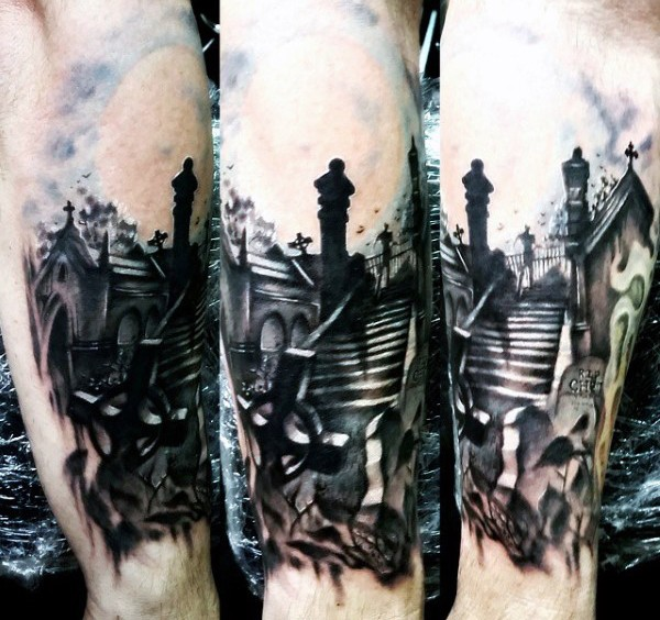 Real photo like black and white night cemetery tattoo on forearm with ghost figure