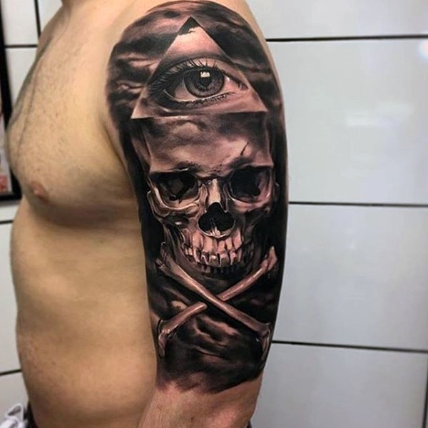 Real photo like black and white pirate style skull with ...