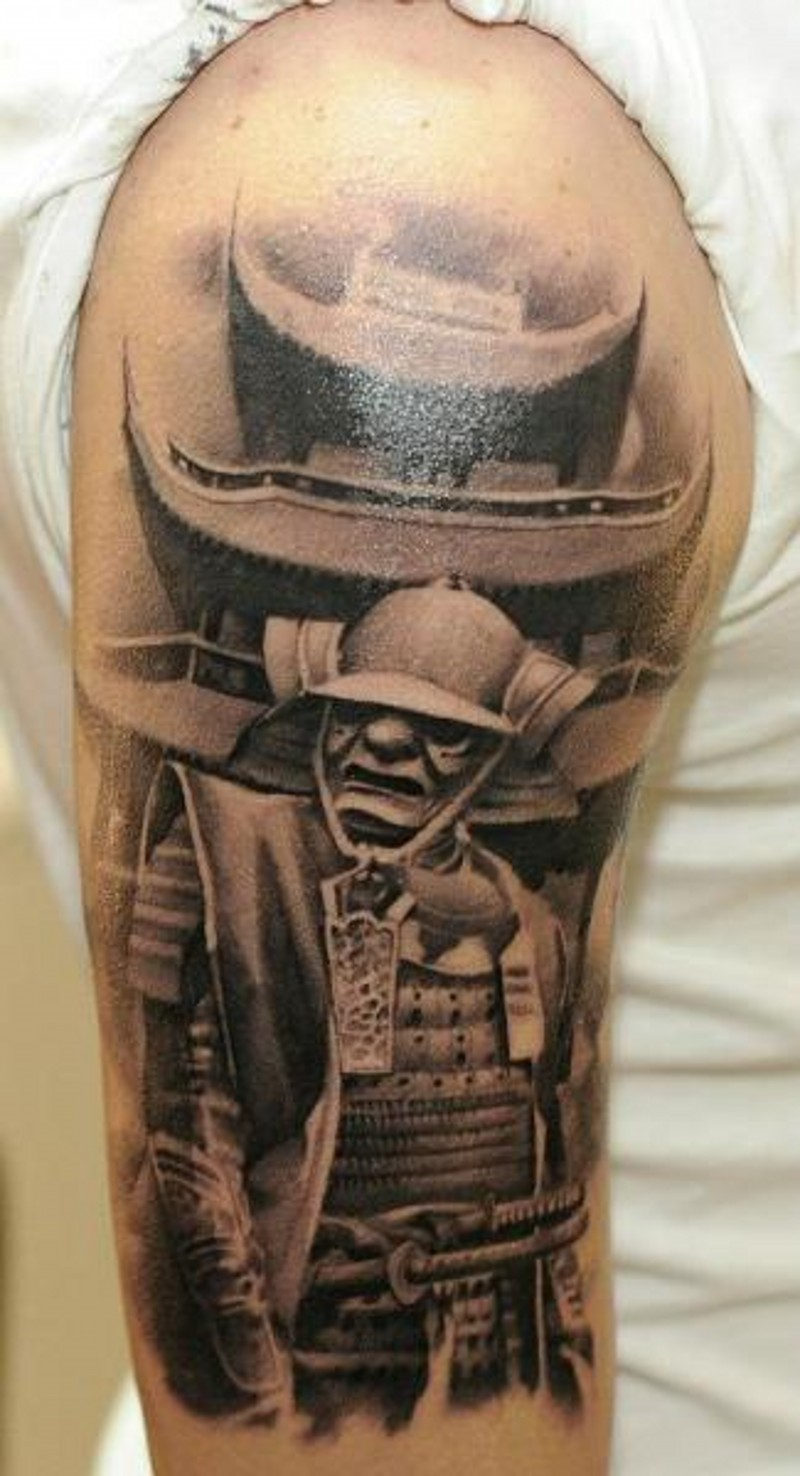 Real photo like black and white samurai warrior tattoo on shoulder combined with antic Asian house