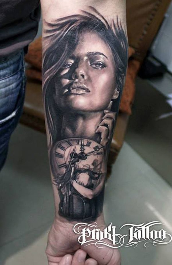 Real photo like black and white seductive woman with old clock tattoo on arm